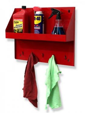 AEROSOL CAN AND OIL BOTTLE RACK WITH RAG TABS (19 3/8 x 14 7/8 x 4 1/2)