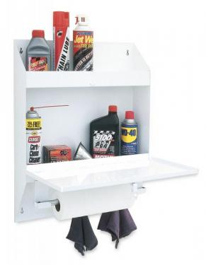STORAGE SHELF WITH CLOSABLE SHELF ORGANIZER WITH PAPER TOWLE DISPENSER AND RAG TABS (25 x 19 1/2 x 4 3/4)